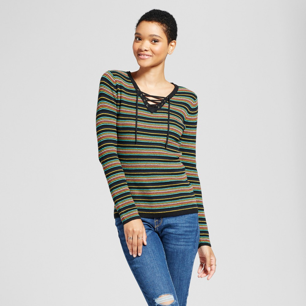 Womens Lace Up Stripe Sweater - Mossimo Supply Co. Black Xxl