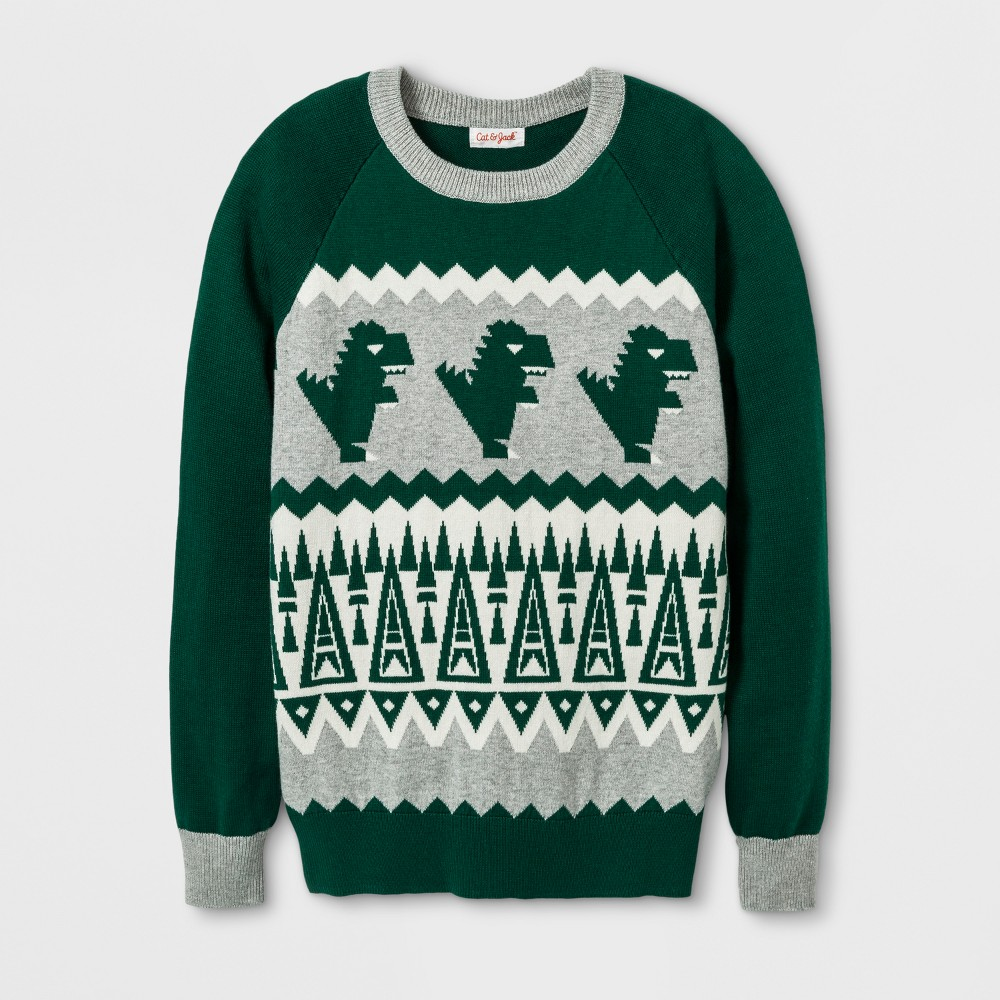 Boys Dino Jacquard Crew Pullover Sweater - Cat & Jack Green S
