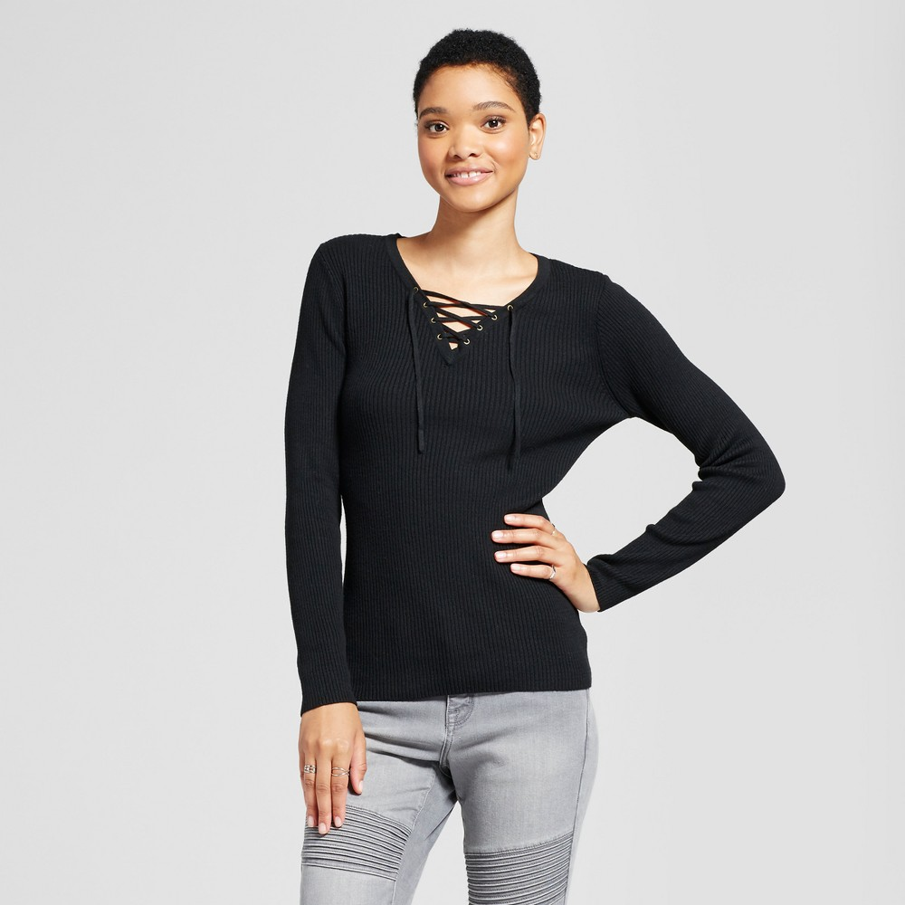 Womens Lace Up Sweater - Mossimo Supply Co. Black M