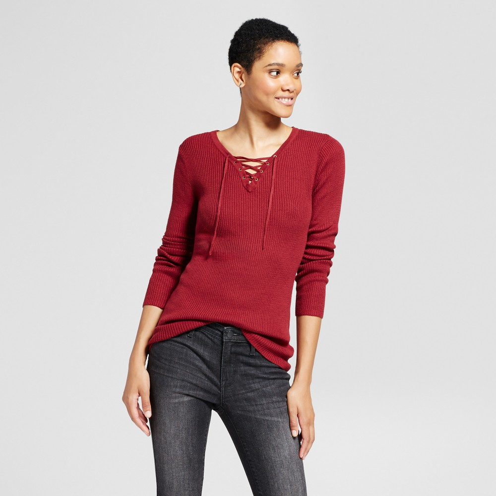 Womens Lace Up Sweater - Mossimo Supply Co. Maroon (Red) L