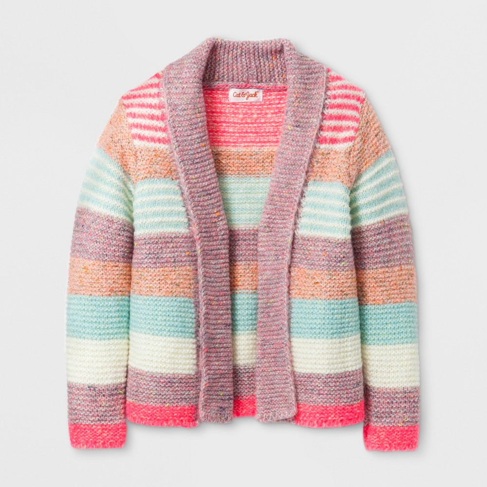Toddler Girls Open Front Striped Cardigan - Cat & Jack 3T, Multicolored