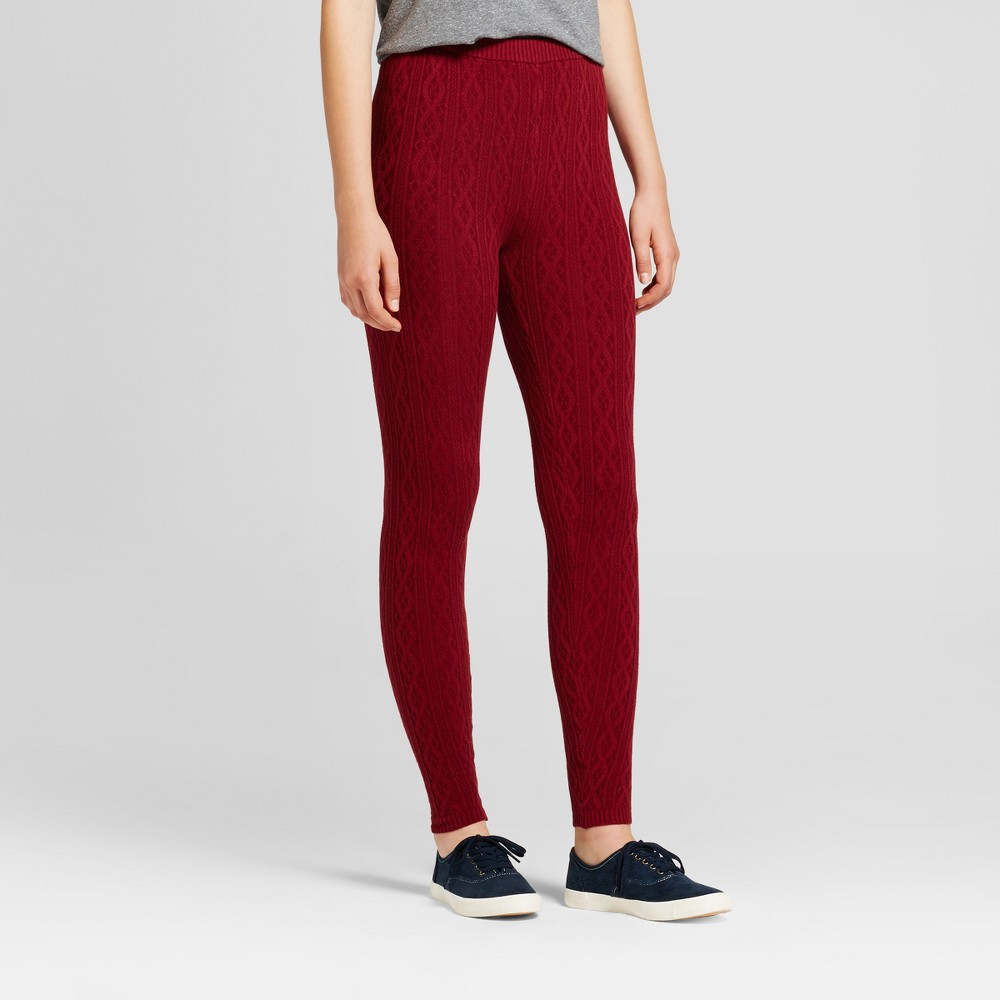Women's Cable Sweater Leggings - Mossimo Supply Co. Burgundy (Red) XL