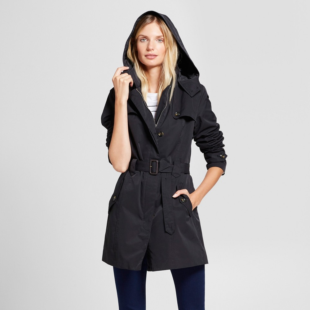 Womens Hooded Trench Coat - A New Day Black S