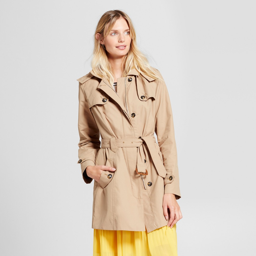 Womens Hooded Trench Coat - A New Day Khaki (Green) M