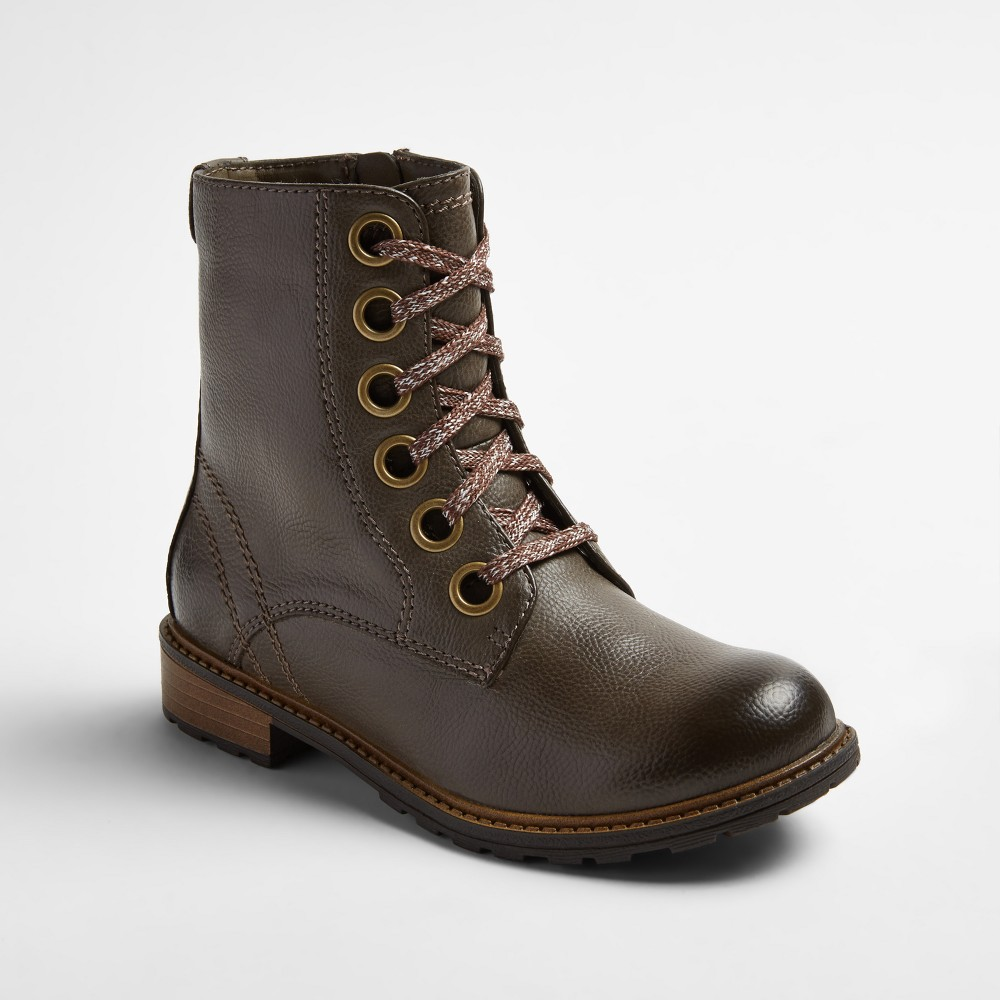 Girls Sage Lace Up Combat Boots Cat & Jack - Stone (Grey) 4