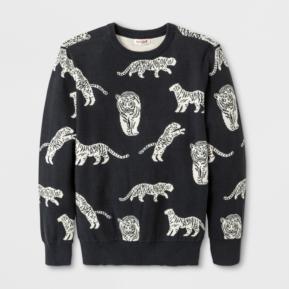 Boys Tiger Crew Pullover Sweater - Cat & Jack Gray M