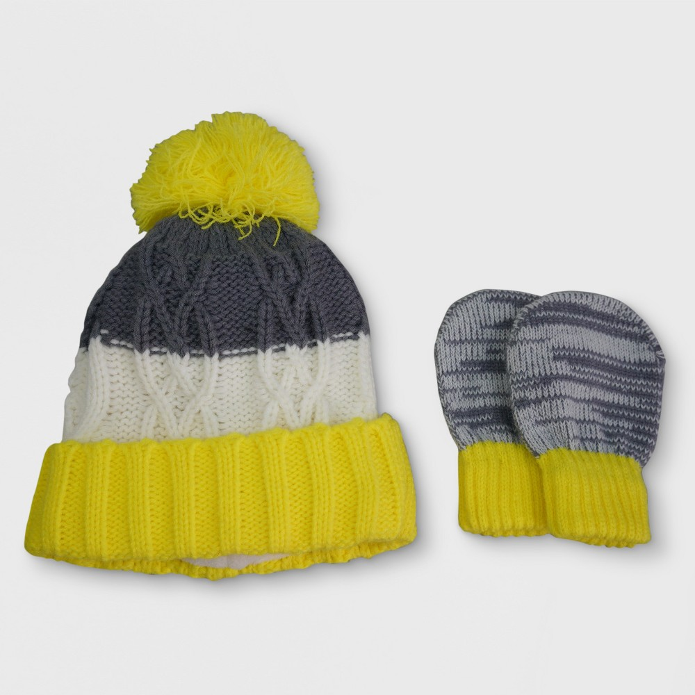 Baby Knit Cuffed Hat and Mitten Set - Cat & Jack Yellow/Gray, Infant Boys, Size: 12-24M