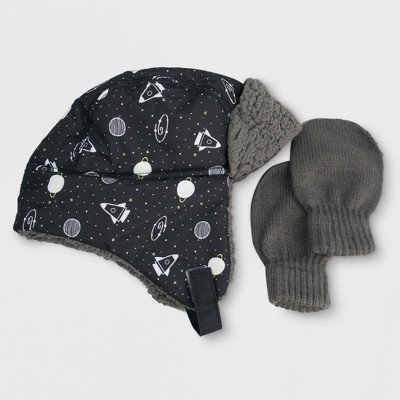 Toddler Boys' Woven Trapper Hat and Mitten Set - Cat & Jack™ Gray 2T-4T