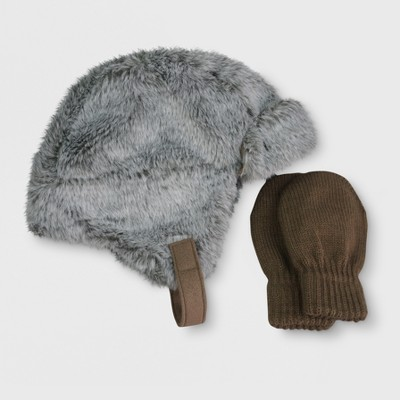 Toddler Boys' Faux Fur Trapper Hat and Mitten Set - Cat & Jack™ Brown 2T-4T