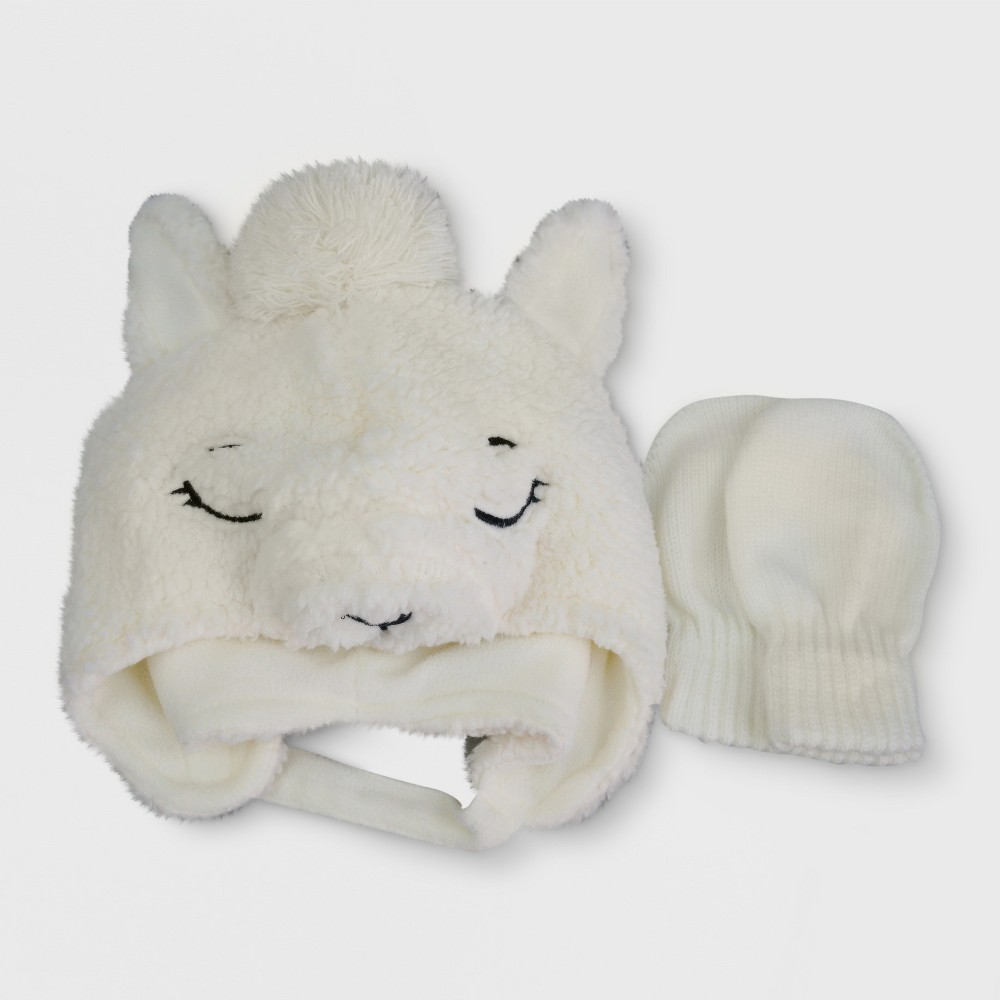 Baby Cut and Sewn Peruvian Hat and Mitten Set Cat & Jack - Llamas, Infant Girls, Size: 12-24M, Beige