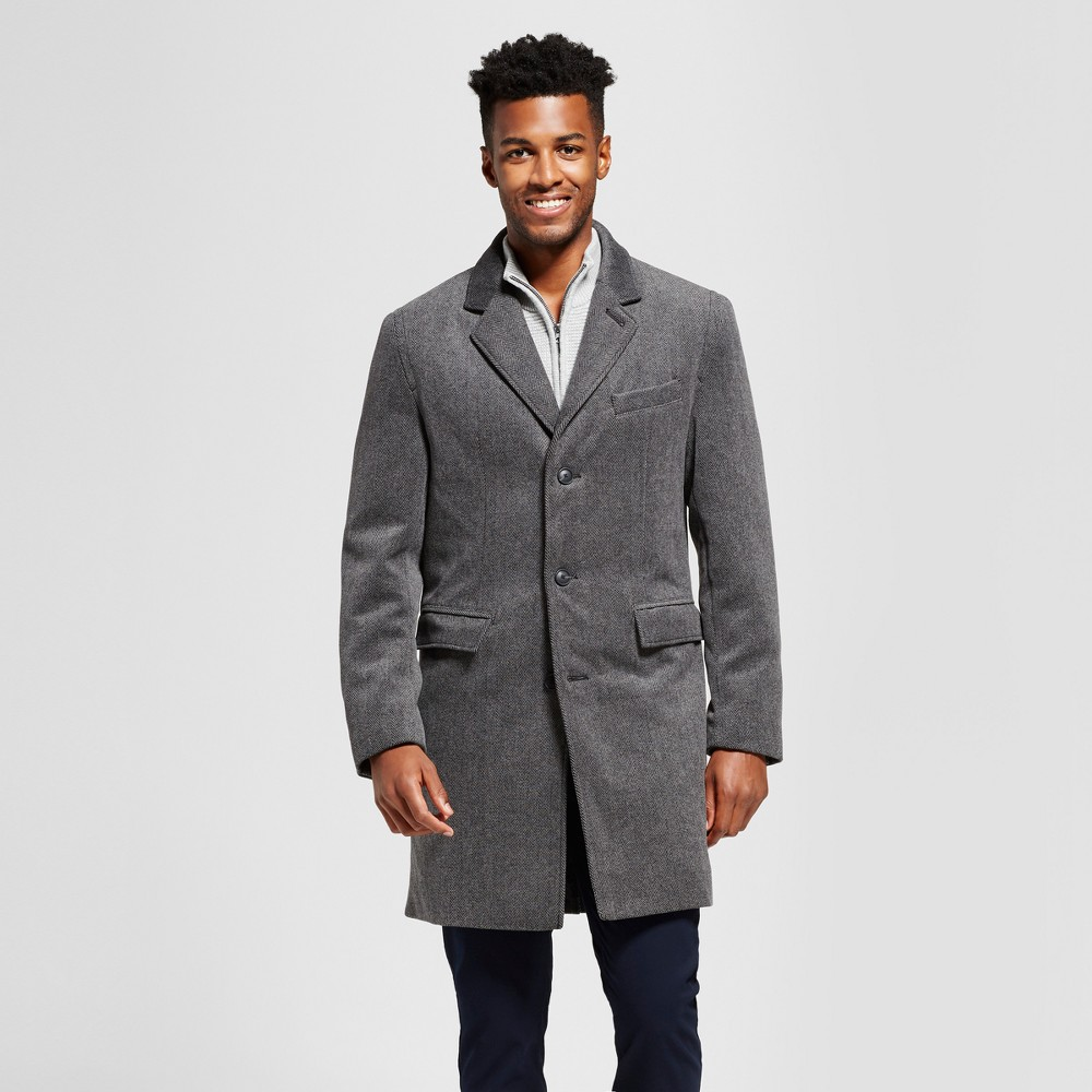 Mens Herringbone Wool Top Coat - Goodfellow & Co Gray Xxl, Multicolored