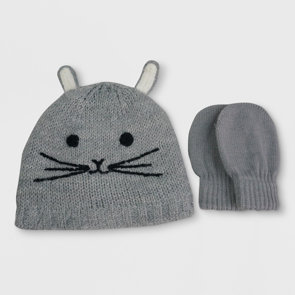 Toddler Knitted Hat and Mitten Set Cat & Jack - Bunny, Toddler Girls, Size: 2T-4T, Gray