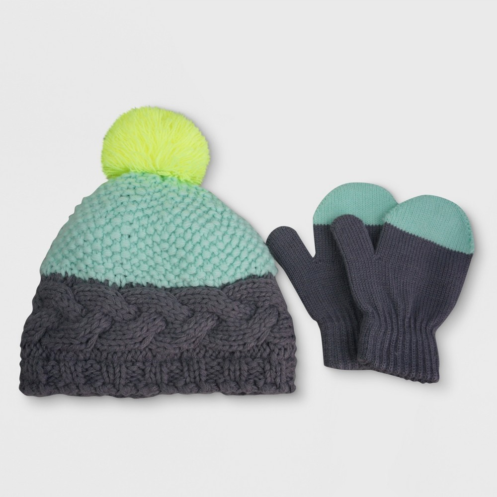 Toddler Girls Knitted Cable Beanie and Mitten Set - Cat & Jack Mint/Gray, Size: 2T-4T, Blue