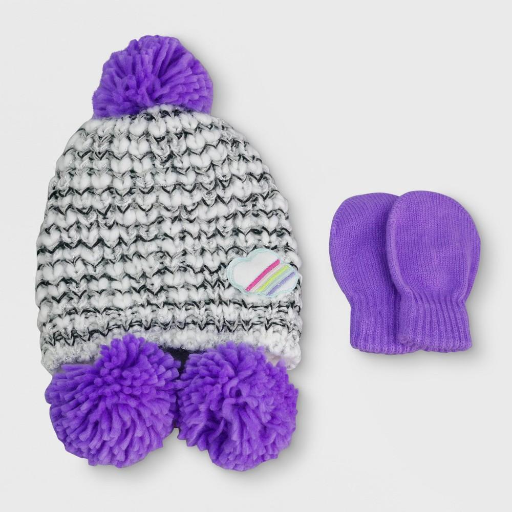 Baby Girls Knitted Marled Peruvian and Mitten Set - Cat & Jack Gray/Purple, Size: 12-24M
