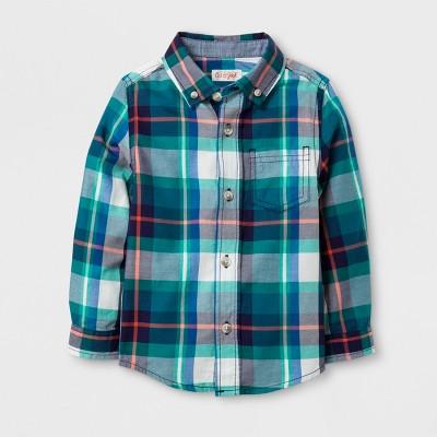 Toddler Boys' Button Down Shirt - Cat & Jack™ Blue Streak 3T