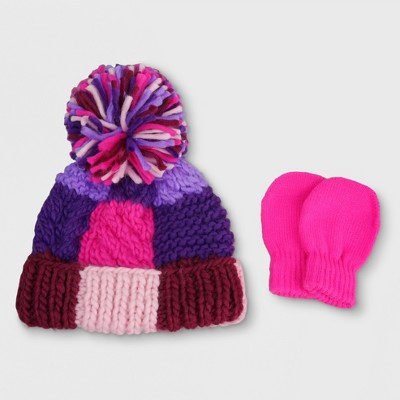 Baby Knitted Beanie and Mitten Set - Cat & Jack™ Pink/Purple Colorblocked