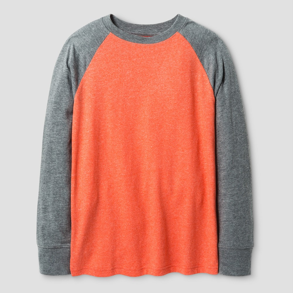 Boys Long Sleeve Baseball T-Shirt - Cat & Jack Orange L