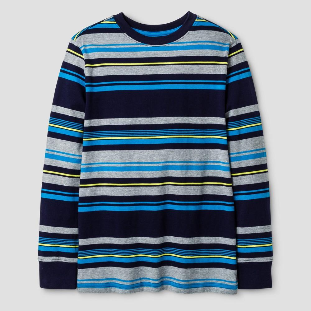 Boys Long Sleeve Stripe T-Shirt - Cat & Jack Blue XL
