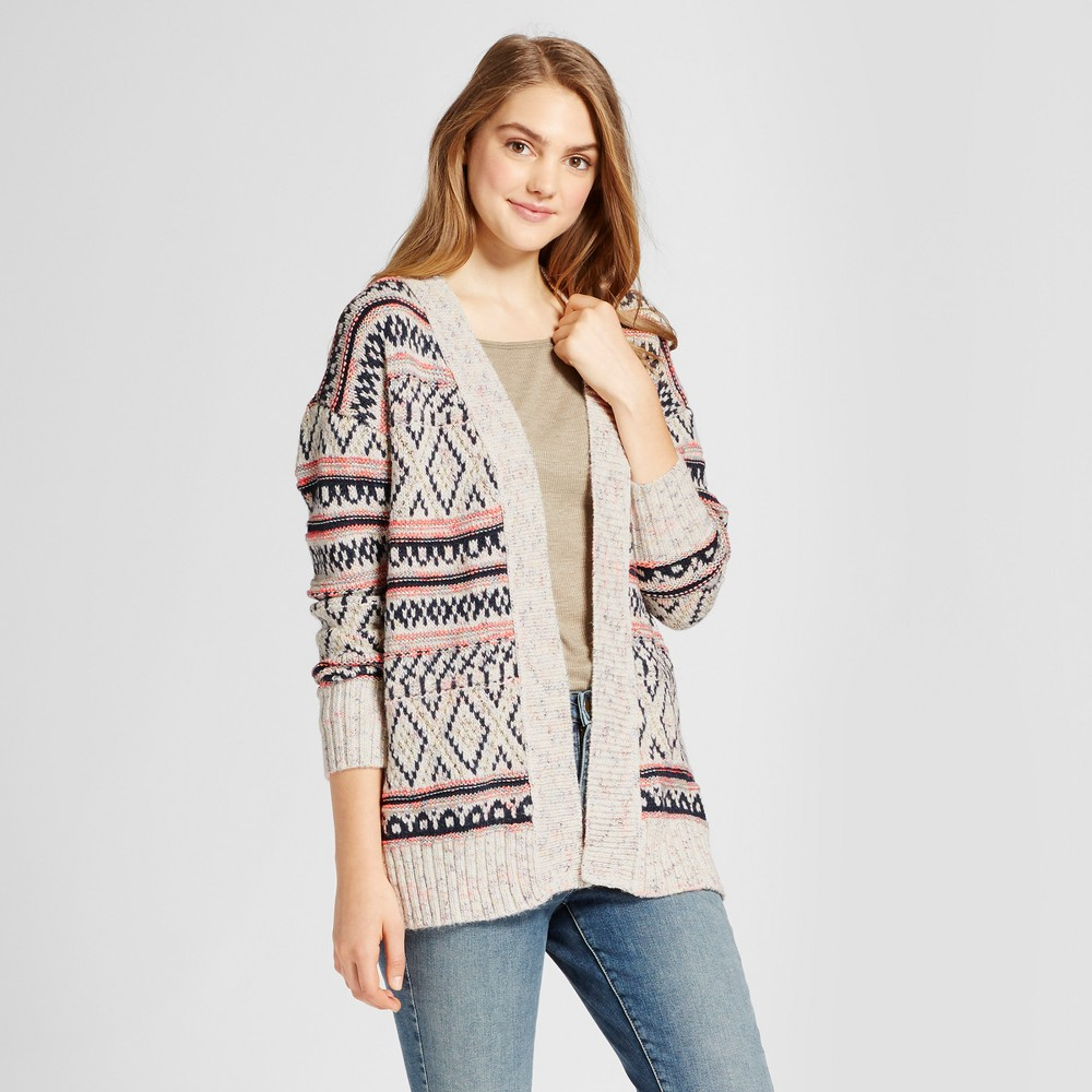 Womens Patterned Cardigan - Mossimo Supply Co. Oatmeal XL, Multicolored