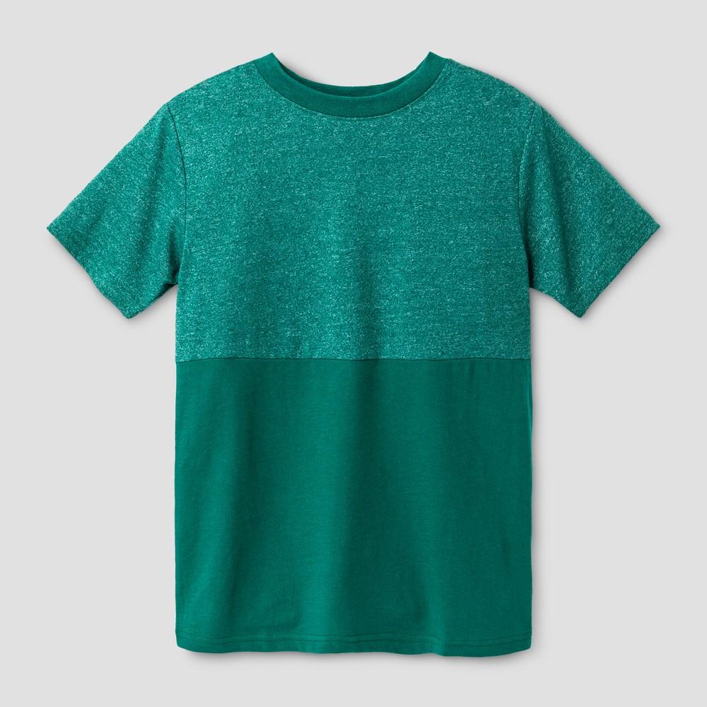 Boys Short Sleeve Half Colorblock T-Shirt - Cat & Jack Green XS