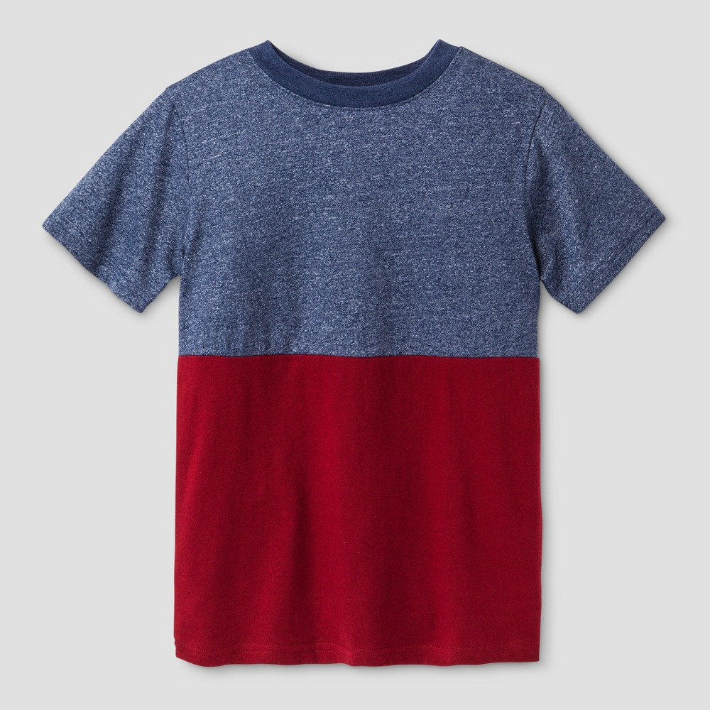 Boys Short Sleeve Half Colorblock T-Shirt - Cat & Jack Blue M