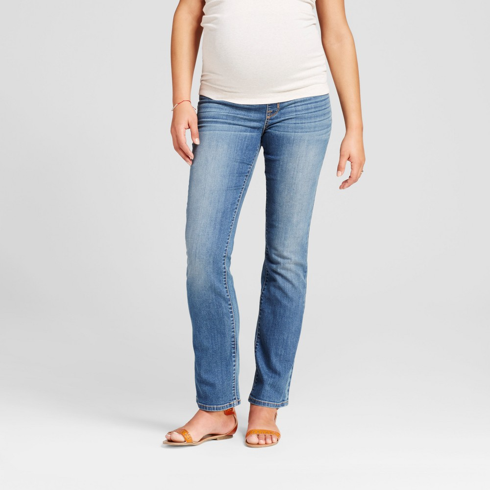 Maternity Crossover Panel Bootcut Jeans - Isabel Maternity by Ingrid & Isabel Medium Wash 4, Womens, Blue
