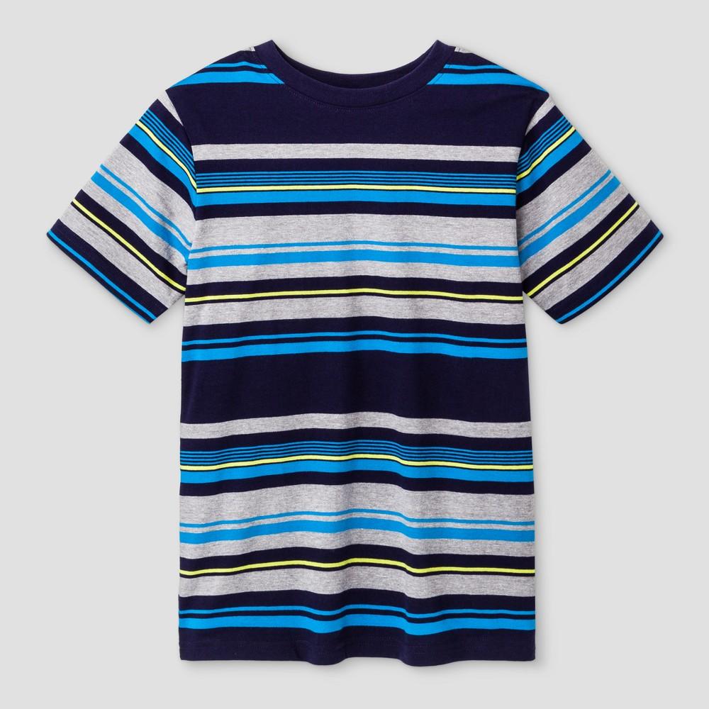 Boys Short Sleeve Stripe T-Shirt - Cat & Jack Blue L