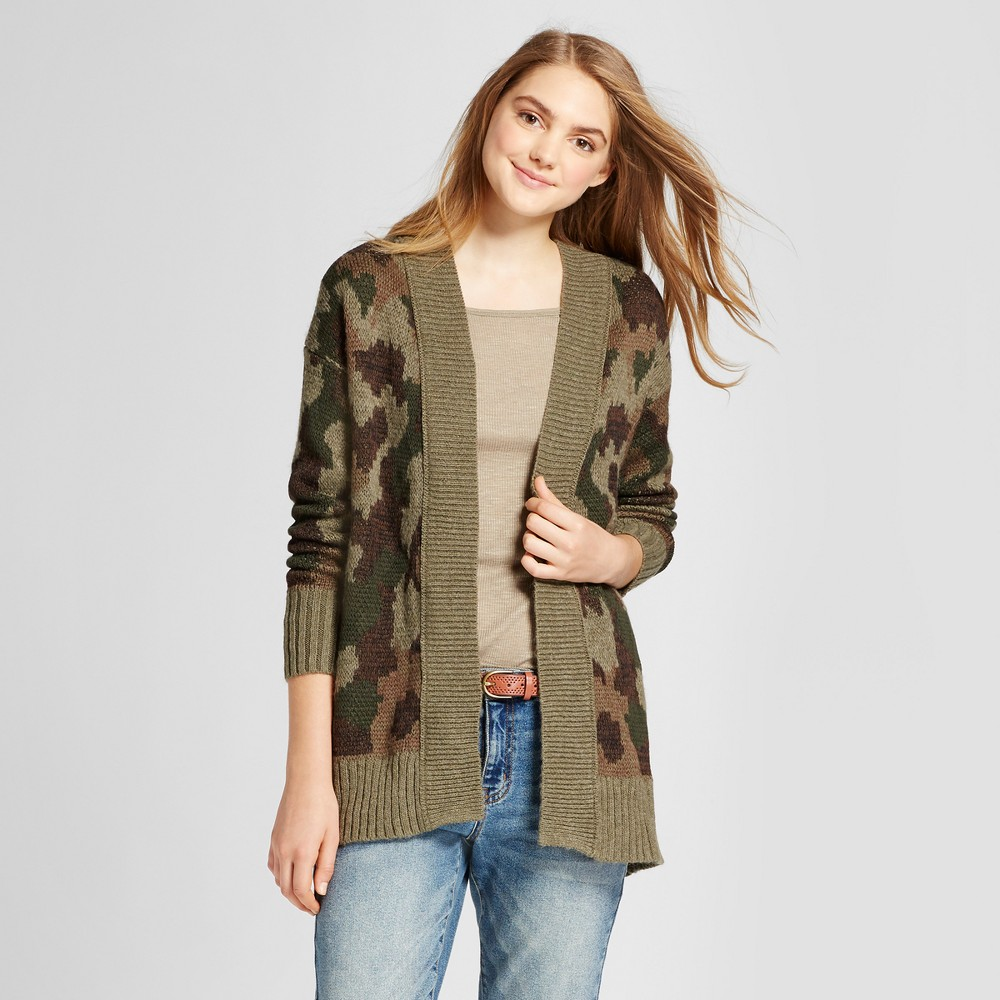 Womens Camo Print Cardigan - Mossimo Supply Co Olive Xxl, Green