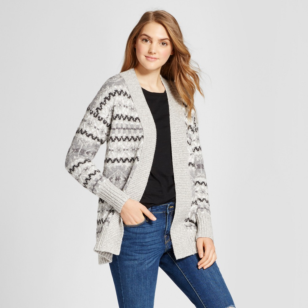 Women's Nordic Patterned Cardigan - Mossimo Supply Co. Gray XS