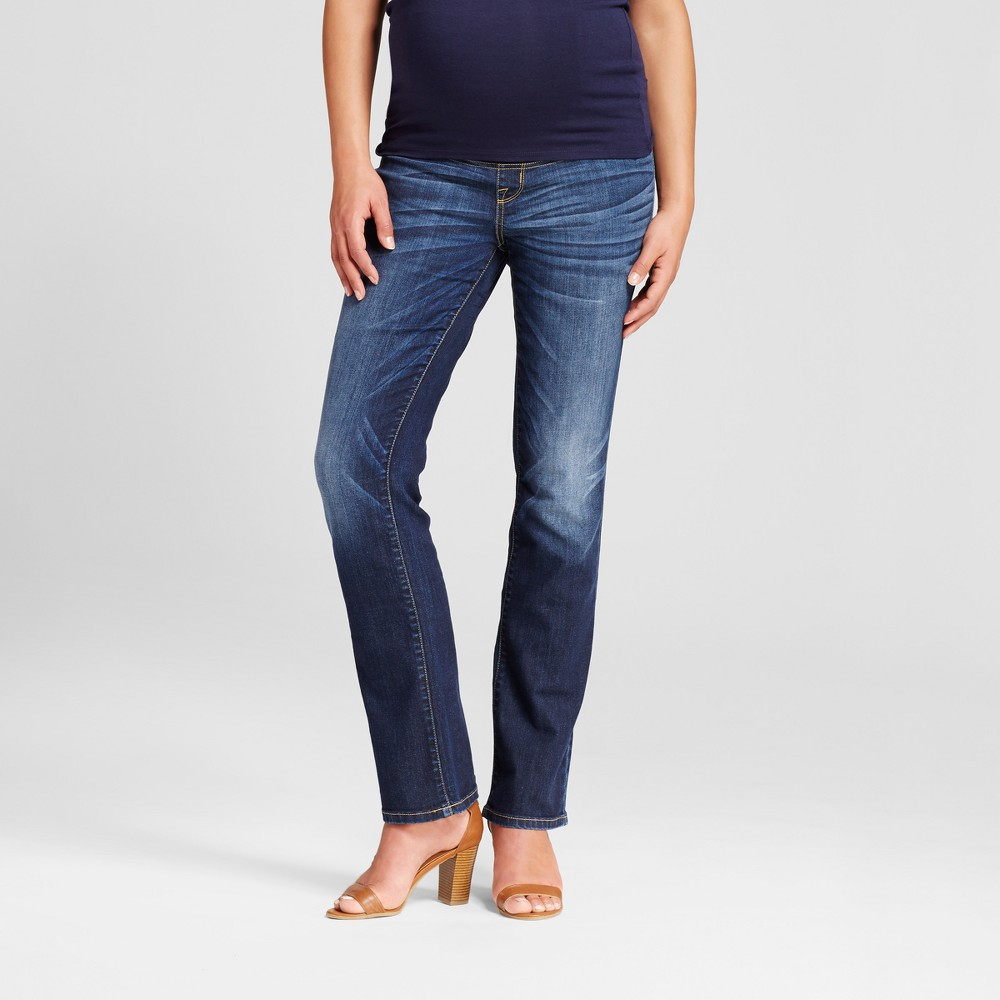 Maternity Crossover Panel Bootcut Jeans - Isabel Maternity by Ingrid & Isabel Darker Wash 10, Womens, Blue