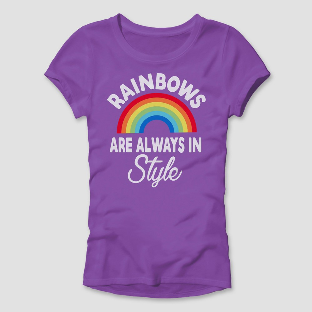 Pride Adult Rainbows Are Always In Style T-Shirt - Purple XS, Womens
