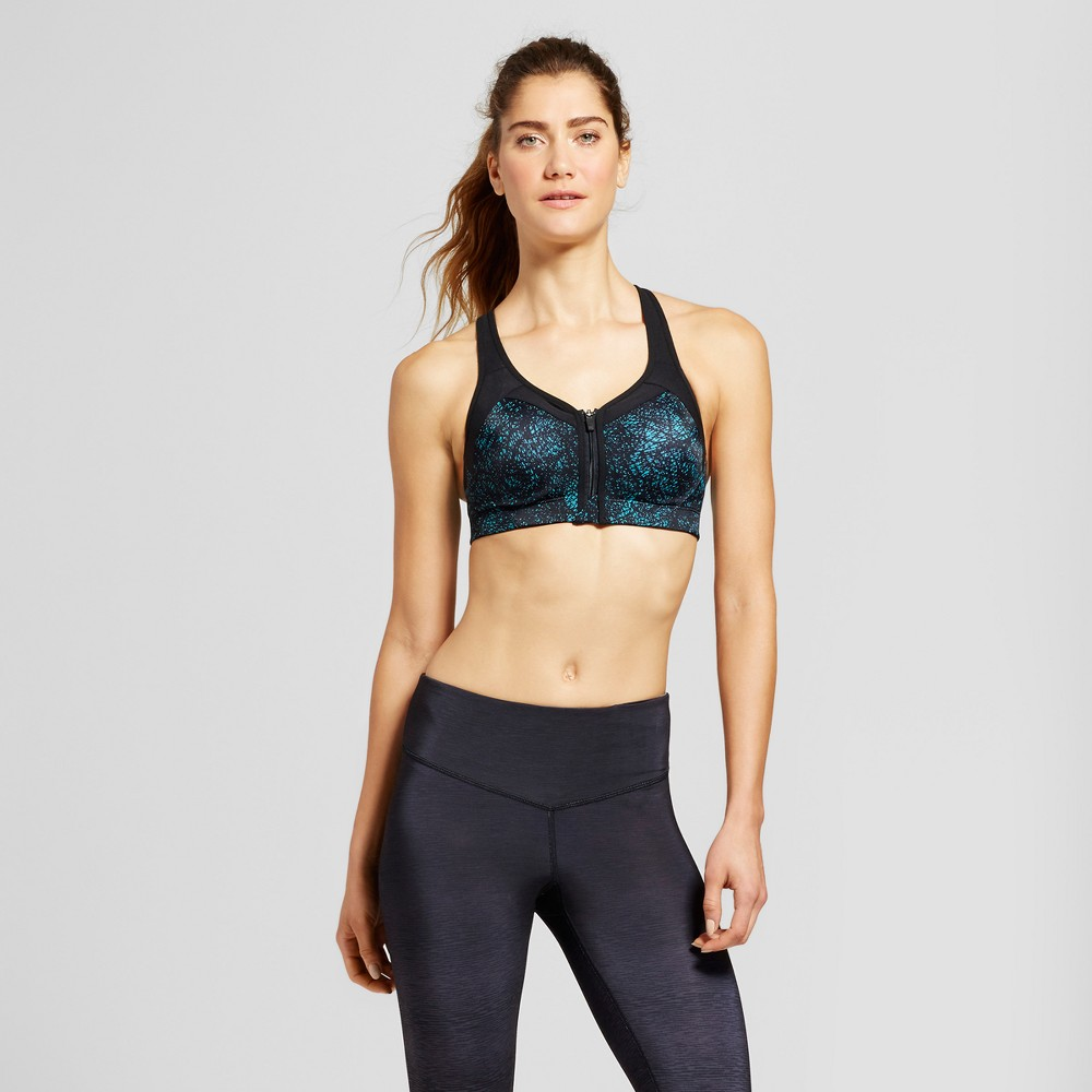 Womens Power Shape Max Support Front-Close Sports Bra - C9 Champion - Dark Teal/Crosshatched Print 34B
