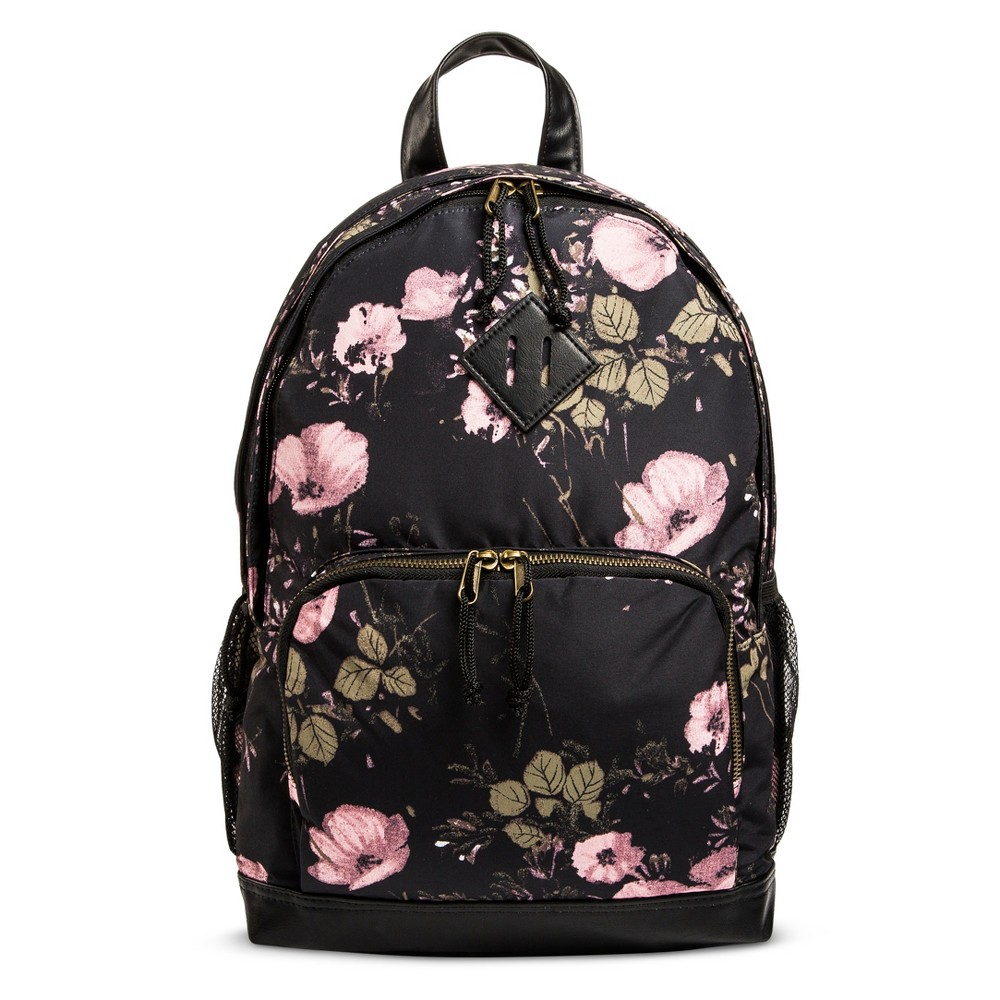 Womens Floral Satin Backpack Handbag - Mossimo Supply Co. Black/Pink