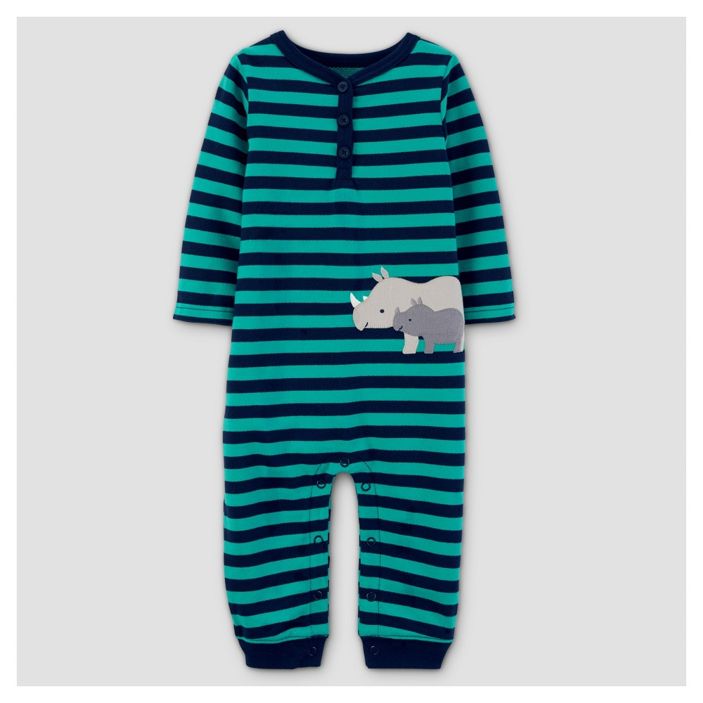 Baby Boys French Terry Rhino Jumpsuit - Just One You Made by Carters Teal/Navy NB, Blue