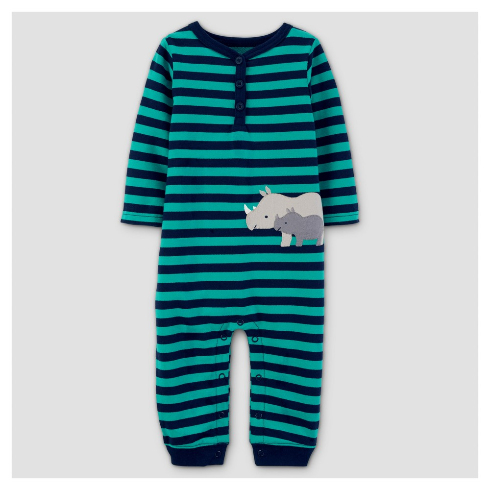 Baby Boys French Terry Rhino Jumpsuit - Just One You Made by Carters Teal/Navy 6M, Size: 6 M, Blue