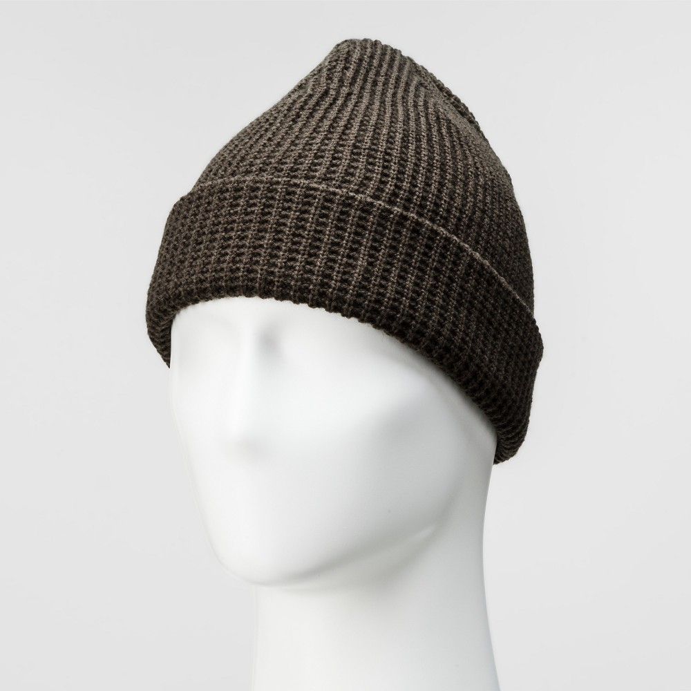 Mens Waffle Knit Cuff Cap - Goodfellow & Co Olive (Green) One Size