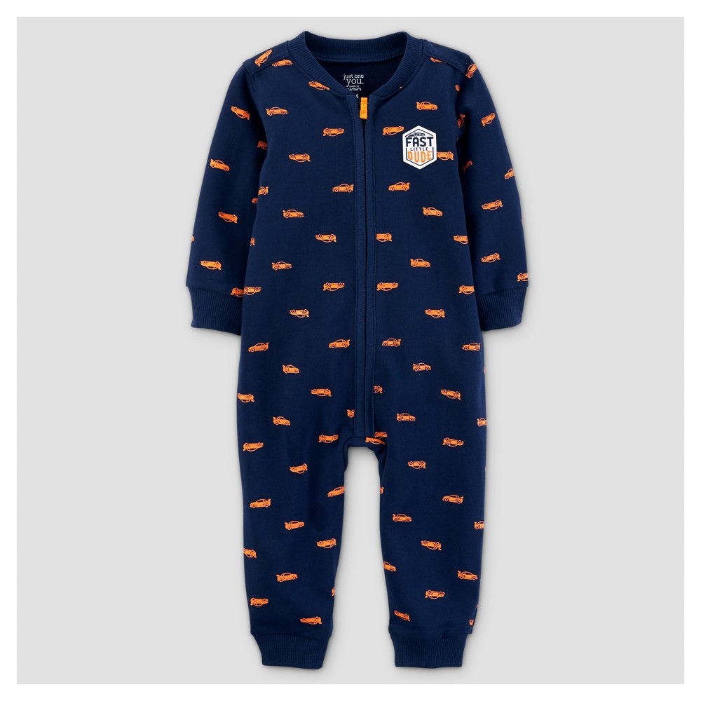 Baby Boys French Terry Fast Dude Jumpsuit - Just One You Made by Carters Navy/Orange 12M, Size: 12 M, Blue