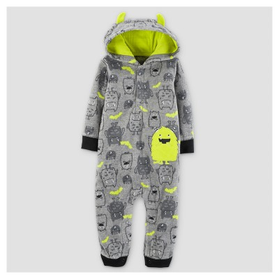Baby Boys' Fleece Hooded Monster with Horns Jumpsuit - Just One You™ Made by Carter's® Gray 9M