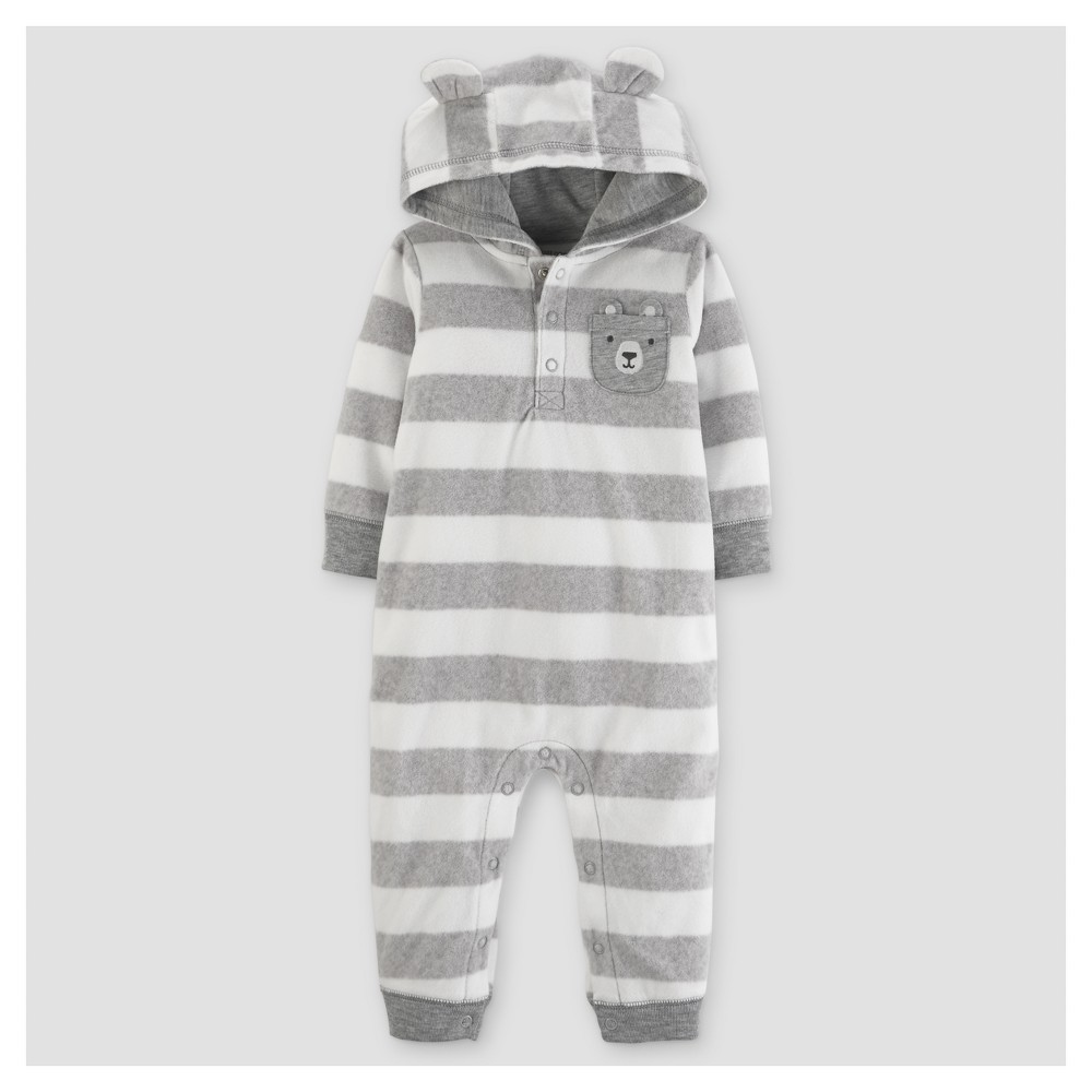 Baby Boys Fleece Striped with Ears Jumpsuit - Just One You Made by Carters Gray 3M, Size: 3 M