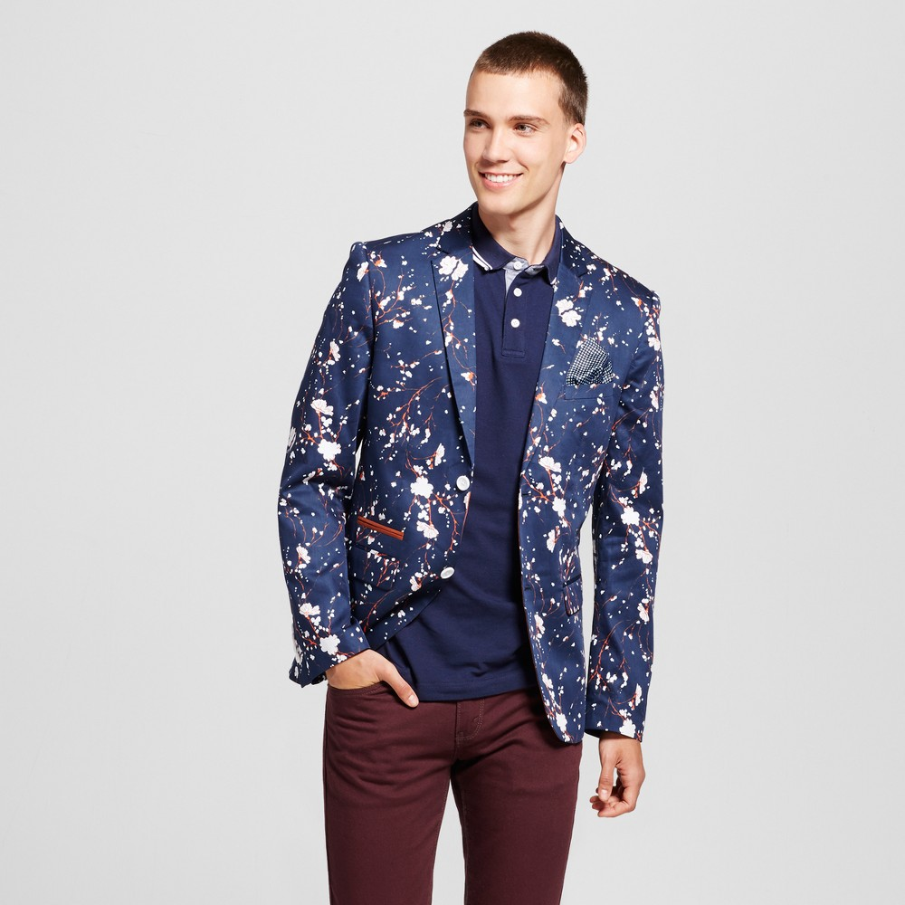 Wd·ny Black - Mens Floral Blue Blazer - Blue XL