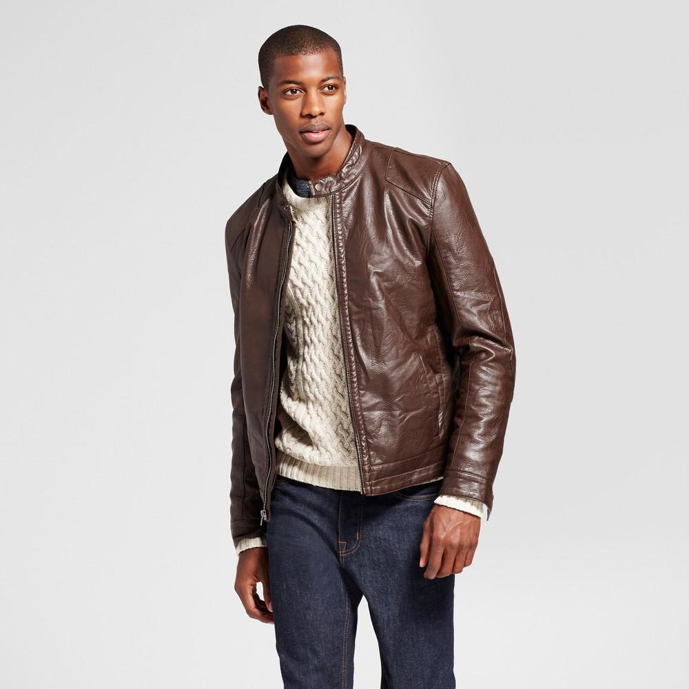 Mens Standard Fit Faux Leather Biker Jacket - Goodfellow & Co Brown L
