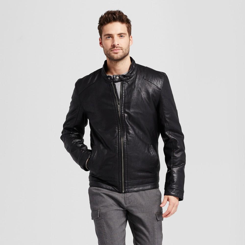 Mens Standard Fit Faux Leather Biker Jacket - Goodfellow & Co Black XL