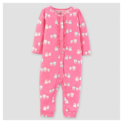 Baby Girls' Cotton Ruffled Owls Jumpsuit - Just One You™ Made by Carter's® Pink NB