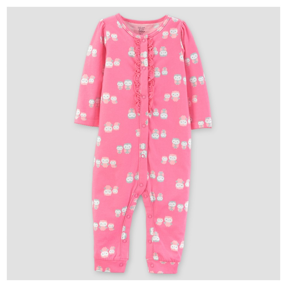 Baby Girls Cotton Ruffled Owls Jumpsuit - Just One You Made by Carters Pink NB