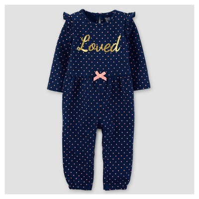Baby Girls' French Terry Dot Loved Jumpsuit - Just One You™ Made by Carter's® Navy 12M
