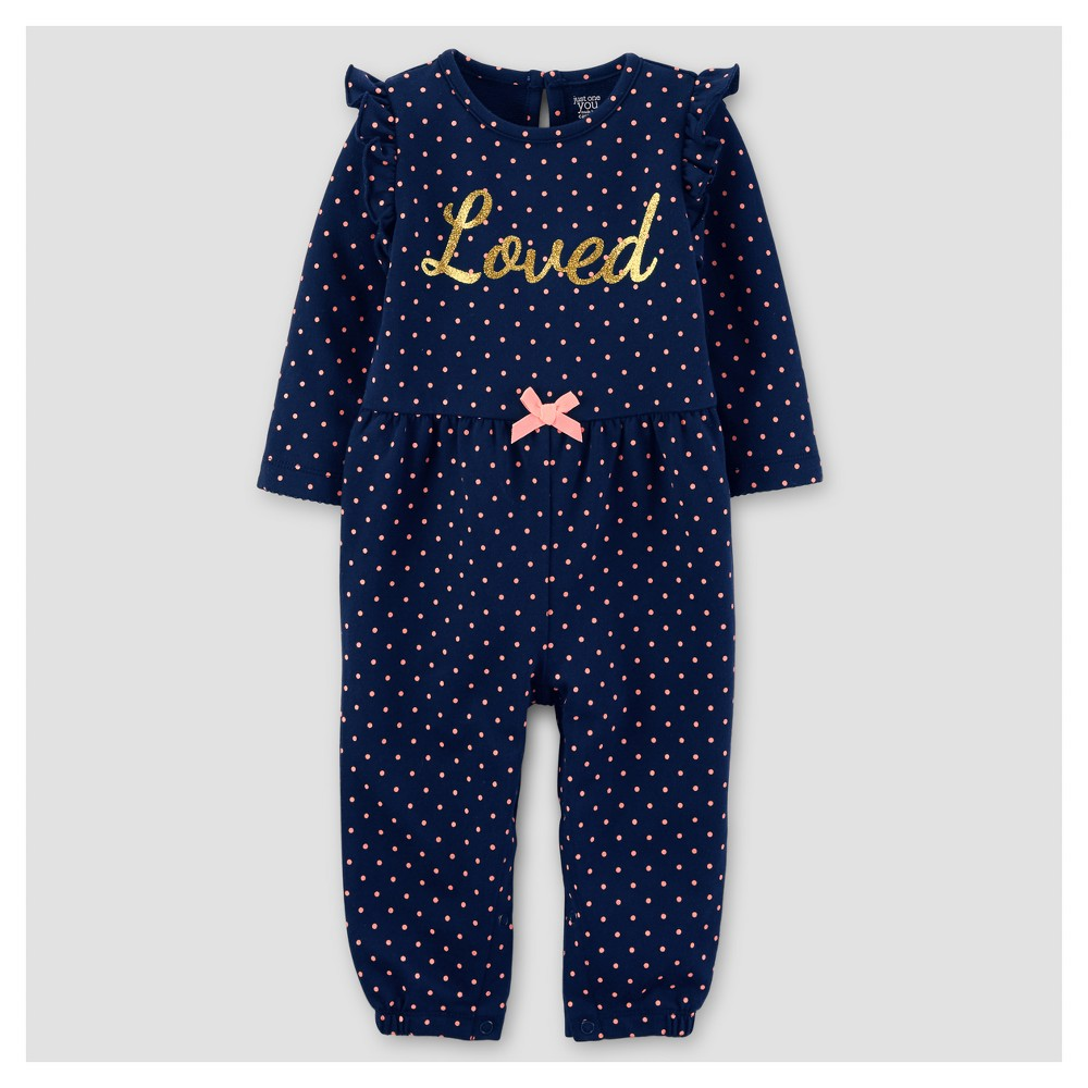Baby Girls French Terry Dot Loved Jumpsuit - Just One You Made by Carters Navy 3M, Size: 3 M, Blue