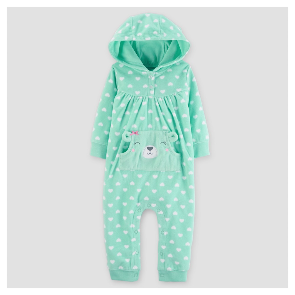 Baby Girls' Fleece Hooded Hearts Jumpsuit - Just One You Made by Carter's Mint 12M, Size: 12 M, Green