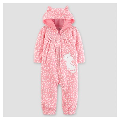Baby Girls' Fleece Hooded Kitty with Ears Jumpsuit - Just One You™ Made by Carter's® Pink 12M