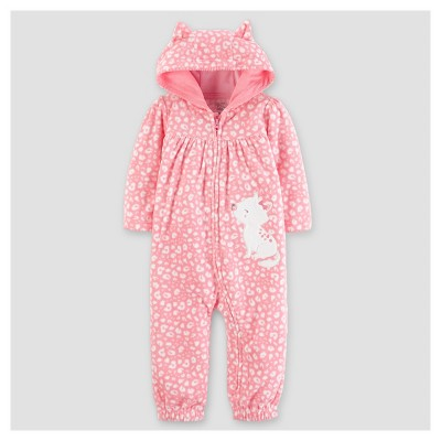 Baby Girls' Fleece Hooded Kitty with Ears Jumpsuit - Just One You™ Made by Carter's® Pink NB