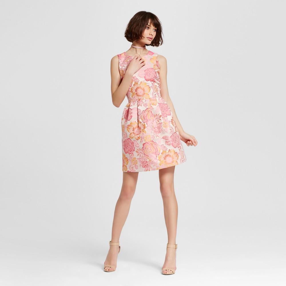 Womens Jacquard Fit n Flare Dress Pink Rose M - Alison Andrews